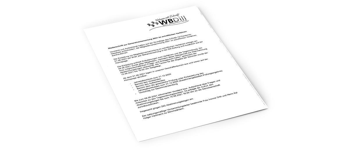 Niederschrift zur Generalversammlung 2021 als PDF herunterladen